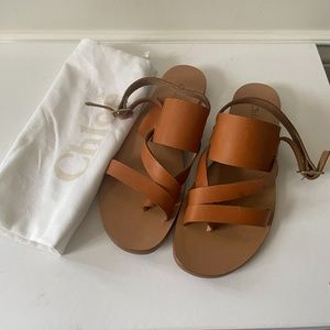NEW Chloe brown caramel flat leather sandal
